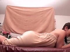 Greased Japanese darling prefers getting massaged by her friend