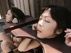 Defenseless Oriental chicks getting their mouths slammed with