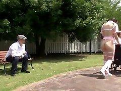 Subtitled freaky Japanese half bare caregiver outdoors