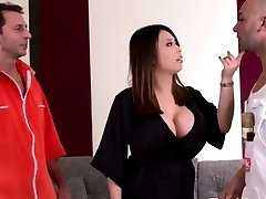 Huge titted asian housewife loves hard double penetration