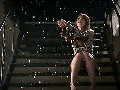 Romantic jap babe Yui Hatano gets 2 small cocks to suck