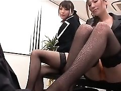 Asian uber-sexy interns playing wild mistresses with their boss