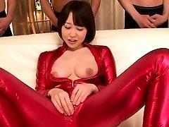 asian bodysuit costume play babe sucking cock