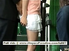 Rio asian teen babe getting her furry pussy fondled on the bus