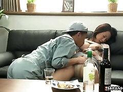 Japanese dark-haired slut, Asuka is fucking a shy handyman, unc
