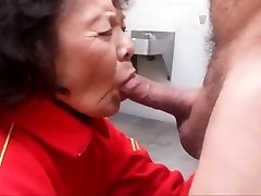 Granny enjoys gargling cock and swallowing cum