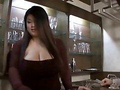 Asian bbw hand-job then strapon