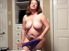 BBW mom with hairy cooch tries on panties and Big Black Cock fantasy
