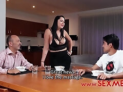 Kinky guy likes to fuck his step- mommy and does it even in front of another boy