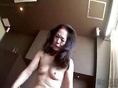 Hot Asian granny gargle cock and fuck
