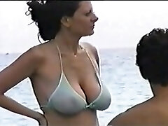 scorching big tit mom at the beach