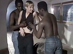Milky whore wifey Rebeca gives eager blowjob to a duo of meaty black dudes