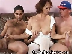 Granny with firm tits fucking two