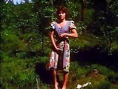 Retro - Girl milks outdoor