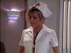 Vintage nurse scene. Spunks on her feet