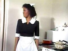 Dark-hued Maid Jeannie Gets Vintage Cock