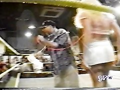 Jasmin St. Claire taking on Georgeous george in a hooter-sling and underpants match wwe