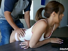 Sporty brunette with small bra-stuffers gets rid of top to ride fat massive man-meat