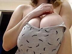 Beautiful Russian Girl Shows Large Congenital Boobs