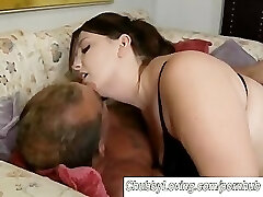 Beautiful big tits BBW gives a great fellatio