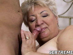 Fat granny doggystyled and jizzed on her big tits