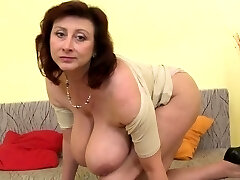 Brunette milf fake penis with cumshot