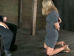 Talkative bitch Simone Sonay gets her forearms tied up and has to blow a cock