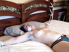 Brunette bdsm amateur slave tied up by sir