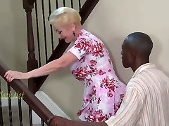 Blonde Granny Invites Ebony Dad For Creampie.