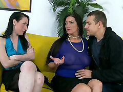 Buxomy dark-haired whore gives head and rides dick like a pro