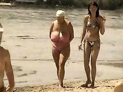 Retro big jugs mingle on Russian beach