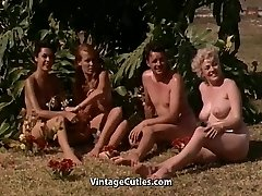 Naked Girls Having Fun at a Nudist Resort (1960s Antique)