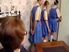 Mischievous schoolgirls line up for their donk spanking punishment