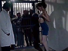 elderly prisonners watch beauty girl