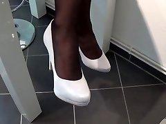 Nylon Footplay With White highheels