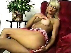 HOT Busty Ash-blonde Striptease and Fingering 2016