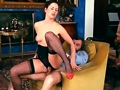 Retro Classical - Black Crotchless Satin Underpants Action