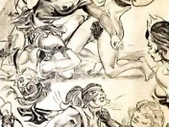 Amazons predominate in mixed grappling lesbian wrestling art comics