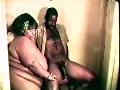 Big fat gigantic black super-bitch loves a hard black cock inbetween her lips and gams