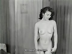 Nude Dark-haired Teases with Flawless Body (1950s Vintage)