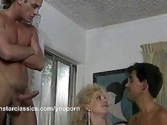 Busty classic pornstar double ass-fuck