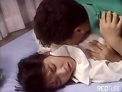 Cute Japanese girl is getting plowed by tongue and hard sausage