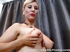 Magnificent blonde Saffy fucks pussy with heels in vintage nylons and lingerie