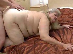 Fatty granny with flabby body & guy