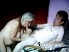 Russian Mom Granny and her boy! Amateur!