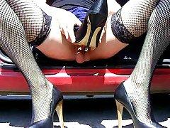 Crossdresser fucking her high heels