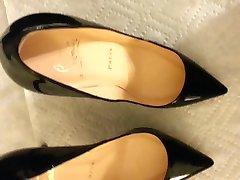 cum on gf black louboutin heels