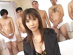 Asian fucked while men cum on her face