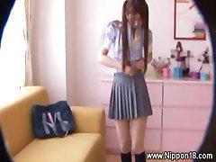 Asian schoolgirl gets hot for lucky voyeur