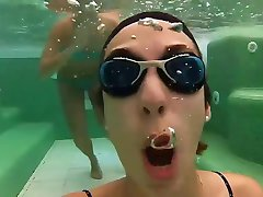 cute play with friends underwater